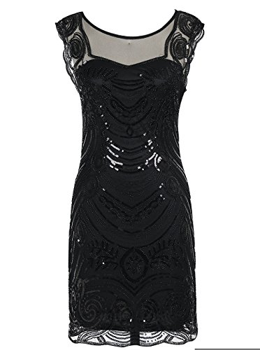 Emust Women's 1920s Sequin Embellished Charleston Downton Gatsby Flapper Dress Black Size Large (The Great Gatsby Dresses For Sale)