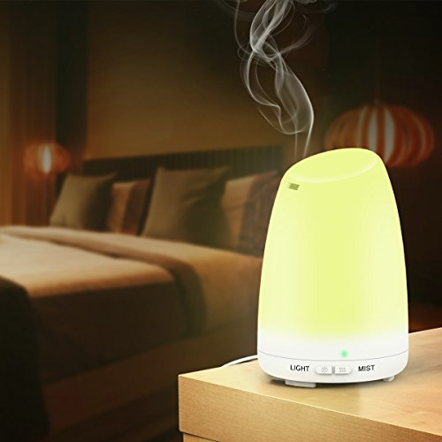 Essential Oil Diffuser, 120ml Ultrasonic Aroma Humidifier with Cool Mist,Waterless Auto Shut-off and 7 Color LED Lights for Bedroom Office Home Yoga Spa Baby (one pack)