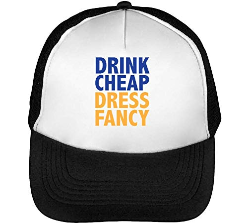 1GD Drink Cheap Dress Fancy Gorras Hombre Snapback Beisbol Negro Blanco