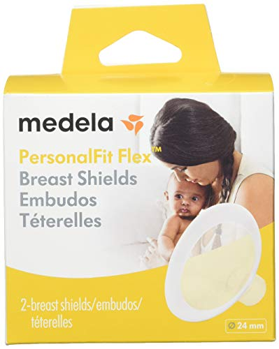 Medela Breast Shields - PersonalFit Flex, 24mm Breast Shield Shaped Around You for Comfortable and Efficient Pumping, Made Without BPA, Pack of 2 Breastshields, Clear ()