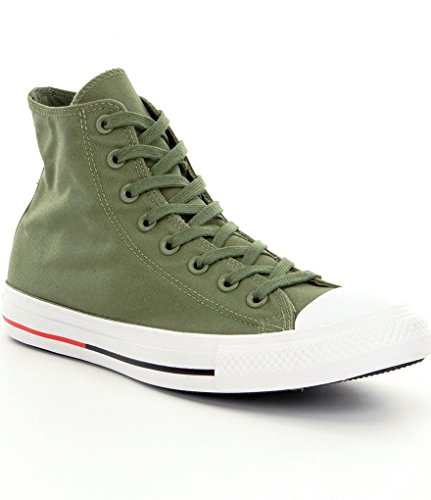 Converse Mens Chuck Taylor All Star Shield Canvas High Top Fashion Sneaker, Faigue Green/White/Signal Red, 7.5