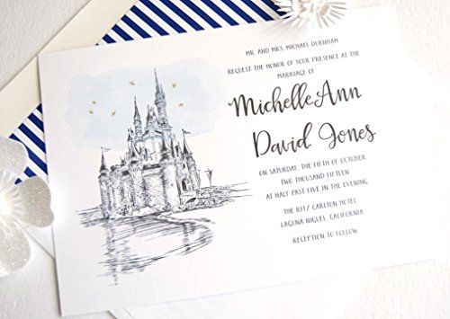 Fairytale Wedding, Disney World Castle Inspired Invitations Package (Sold in sets of 10 Invitations, RSVP Cards and ()