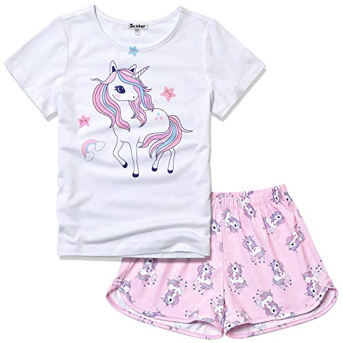 Pajamas for Big Girl Size 10 11 Unicorn Pjs Sets Summer Sleep Clothes White ()
