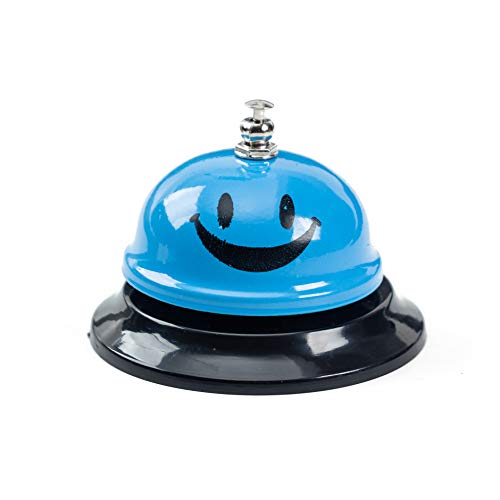 ASIAN HOME Call Bell, 3.35 Inch Diameter, Metal Bell, Blue Smiley Face, Desk Bell Service Bell for Hotels, Schools, Restaurants, Reception Areas, Hospitals, Customer Service, Blue (1 ()