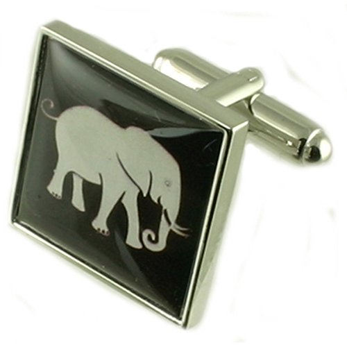Sterling Silver Elephant Animal Cufflinks Engraved Message Box by Select Gifts