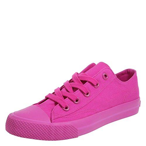 Airwalk Women's Mono Hot Pink Canvas Legacee Sneaker 7 Regular (Pink Canvas Sneaker)