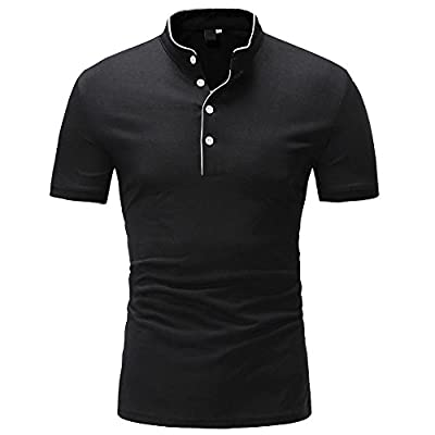 iLXHD Men Summer Top Casual Solid Stand Button Men's Short Sleeved T-Shirt Blouse