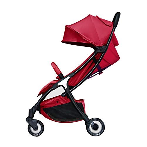 AMENZ Stroller Pushchair,Carrycot,Pram cart, Extra Small Folding, One Hand Fold, Lightweight, Weather Protection Cover,with Reclining Backrest, from Birth up to 15 kg - Red