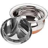 Jalpan Kitchenware Stainless Steel Sonigram Copper Bottom Handi 1000 ml with Lid (Silver, 17 cm)