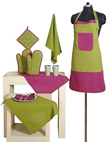 2 Color Cotton Chef's Apron Set with Pot Holder, Oven Mitts & Napkins - Perfect Home Kitchen Gift or Bridal Shower Gift (Pink Gift Set Apron)