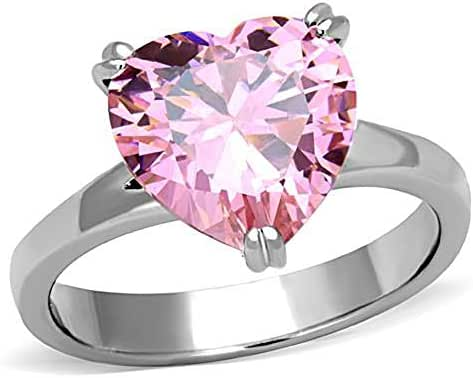 Mai Jewelry Shop & Hair Accessories Stainless Steel 8-Carat Rose Pink Heart Solitaire CZ Engagement Ring