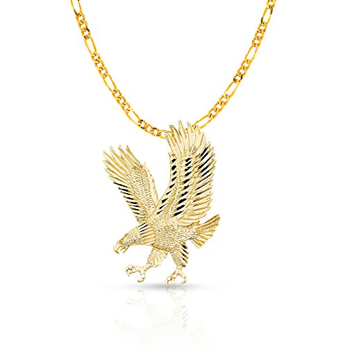 14K Yellow Gold Eagle Charm Pendant with
