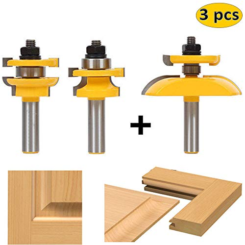 - LETBE 3 PCS Router Bit Set, 1/2-Inch Shank Round Over Cove Raised Panel Cabinet Door Rail and Stile Router Bits, Woodworking Wood Cutter, Wood Carbide Groove Tongue Milling Tool (1/2, HXRD-D31A)