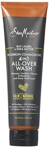 Shea Moisture Bay Laurel & Butter Bourbon Commodore 4-in-1 All-Over Body Wash for Unisex, 10.3 Ounce