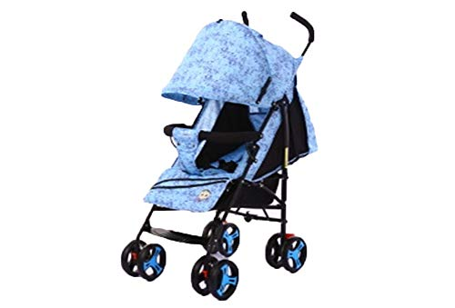DYFAR Four Rounds Bidirectional prams fold Baby pushchairs High Landscape Toddlers Newborn Strollers Can sit and Lie Down from Birth,Easy One-Hand Fold,Compact, Safe, Blue