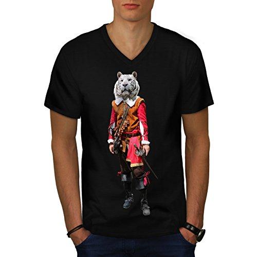 [Tiger Head Pirate Costume Cat Men NEW L V-Neck T-shirt   Wellcoda] (Pirate Kitty Costume)