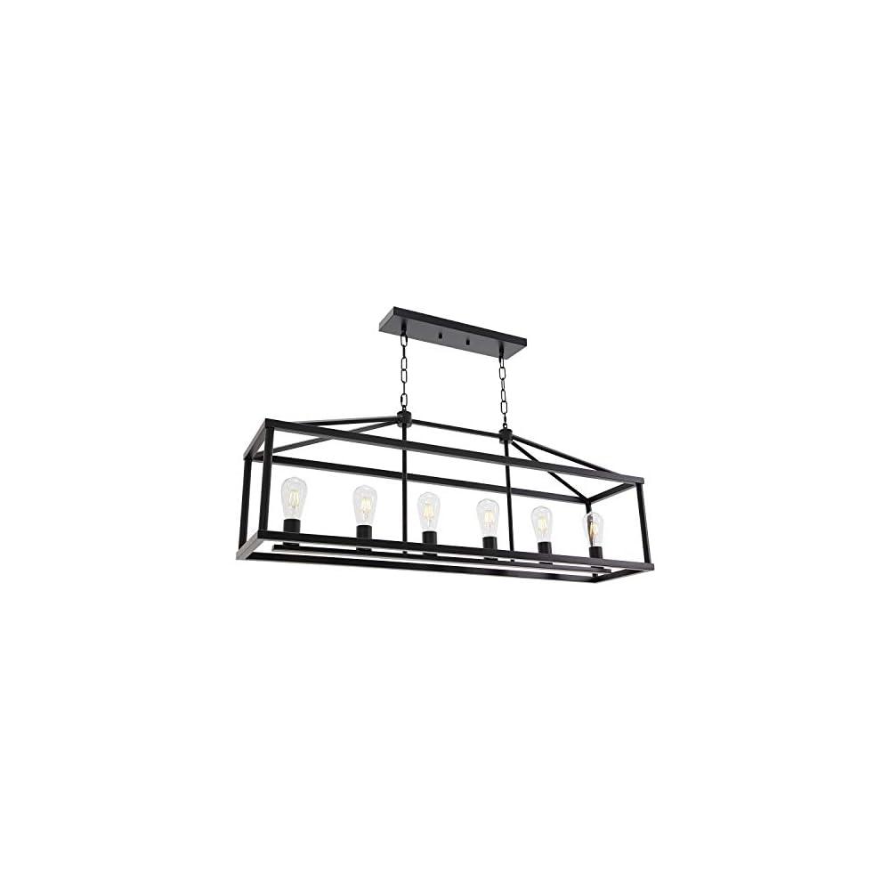 BONLICHT Modern Rectangle Chandelier 6 Light Black Industrial Vintage Kitchen Island Lighting Fixture Hanging Pendant…