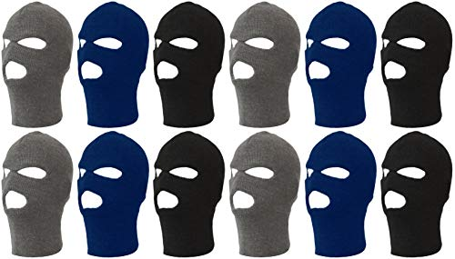 (12 Pack Winter Beanie Hats for Men Women, Warm Cozy Knitted Cuffed Skull Cap, Wholesale (12 Pack Assorted 3-Hole Ski Mask) (Black Navy Gray (12 Pack)))