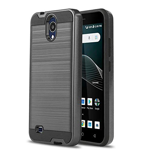 (Phone Case for [AT&T AXIA (QS5509A) / Cricket Vision], [Protech Series][Gun Metal] Shockproof Cover [Impact Resistant][Defender] for AT&T Axia (Prepaid Go Phone) & Cricket Vision)