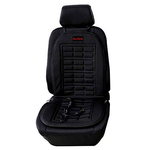 AUDEW Universal 12V Heated Car Seat Cushion Warmer Cover Plug's Into Cigarette Lighter with 3-Way Temperature Controller - Polyester (Plug Seat)