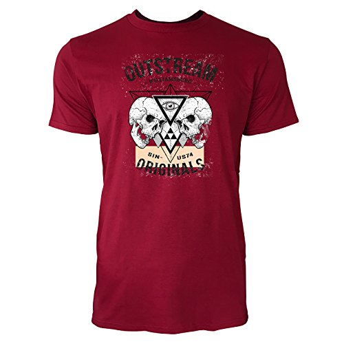 SINUS ART ® Outstream Williamsburg Originals 1986 Herren T-Shirts in Independence Rot Fun Shirt mit tollen Aufdruck