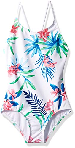 (Kanu Surf Big Girls' Chloe Beach Sport 1-Piece Swimsuit, Leonie Floral White, 7)