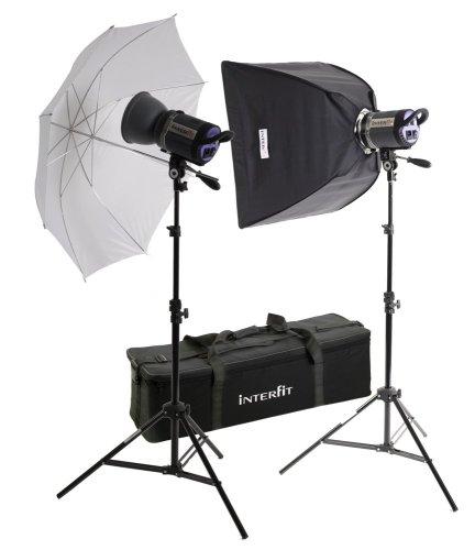 500w Tungsten Light Head - Interfit INT187 Stellar X Tungsten Umbrella and Softbox Kit with 2 Heads