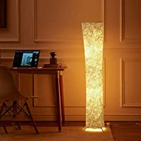 """LEONC 52"""" Floor Lamp with Fabric Shade & 2 Bulbs for Bedroom Living Room Warm Atmosphere (Slim Size: 7.8 x 7.8 x 52-Inch…"""