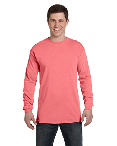 Adult Heavyweight Long Sleeve T-shirt - Comfort Colors 6014 Adult Heavyweight Ringspun Long Sleeve T-Shirt - NEON RED Orange - S