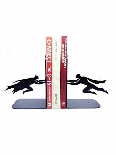 HeavenlyKraft Batman Vs Superman Decorative Metal Bookend, Non Skid Book End, Book Stopper for Home/Office Decor/Shelves, 5.9 X 3.9 X 3.14 Inch Per Piece by HeavenlyKraft