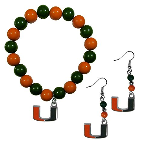 Siskiyou NCAA Miami Hurricanes Fan Bead Earrings & Bracelet Set]()