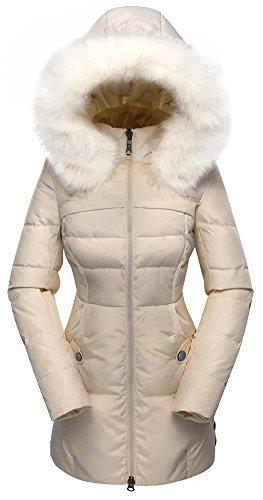 valuker Women's Down Coat Hooded 90D Parka Puffer Jacket Plus Size 57-Beige-1X
