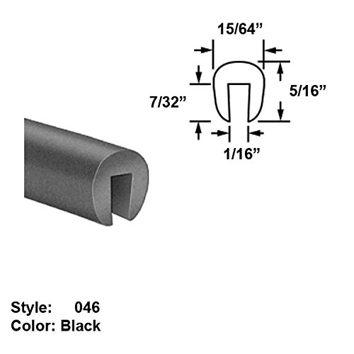 Silicone Rubber High-Temperature U-Channel Push-On Trim, Style 046 - Ht. 5/16'' x Wd. 15/64'' - Black - 25 ft long by Gordon Glass Co.