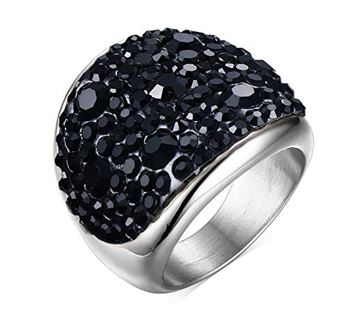 (VNOX Womens Stainless Steel Domed Black CZ Crystal Engagement Ring Promise Wedding, Base,Size 7)