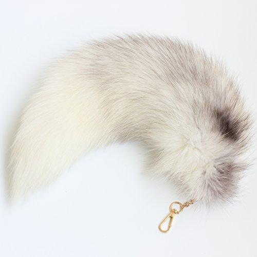 Huge Fluffy White Gray Fox Tail Fur Cosplay Toy HOOK Handbag Accessery