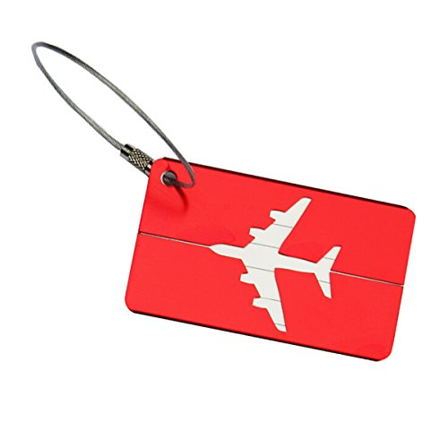 Aluminum Airplane Pattern Travel Luggage Baggage Handbag Tag (Red) - 1