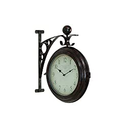 Classic Antique-Style Design Glass Metal 16-inch x 14-inch 2-Sided Wall Clock