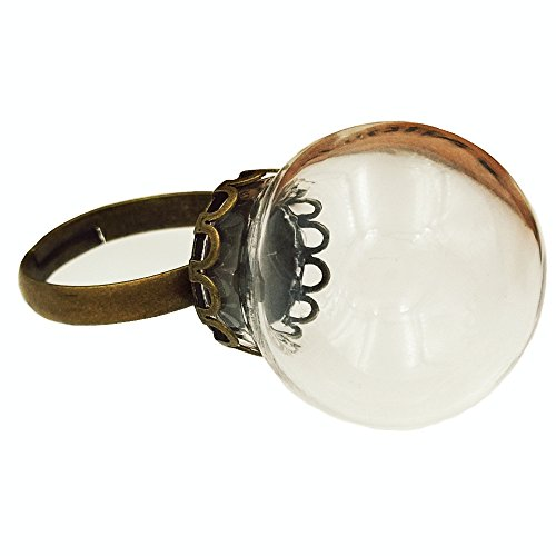 Glass Dome Ring - 10pcs 2012mm mini clear glass globe bottle glass dome cover with ring base (bronze lace ring base)
