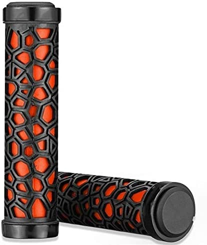 HIGHER MEN サイクリング自転車ハンドルグリップロックオンMTB折りたたみ自転車アンチスリップアンチショックハンドルカバーグリップ用ゴムソフト自転車グリップ (Color : Orange Black)