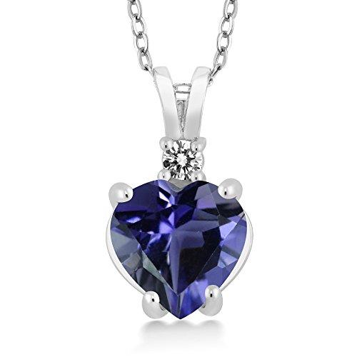 Iolite Pendant Set - Gem Stone King 14K White Gold Heart Pendant set with 1.32 Ct Blue Iolite and White Diamond