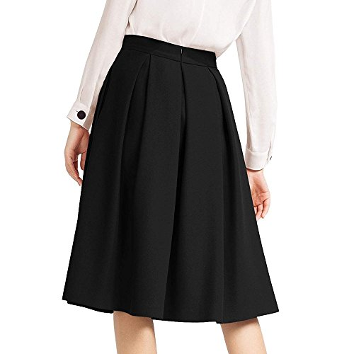 - Women High Waisted Pencil Skirt Flared Pleated Midi Below Knee Skirt With Pocket