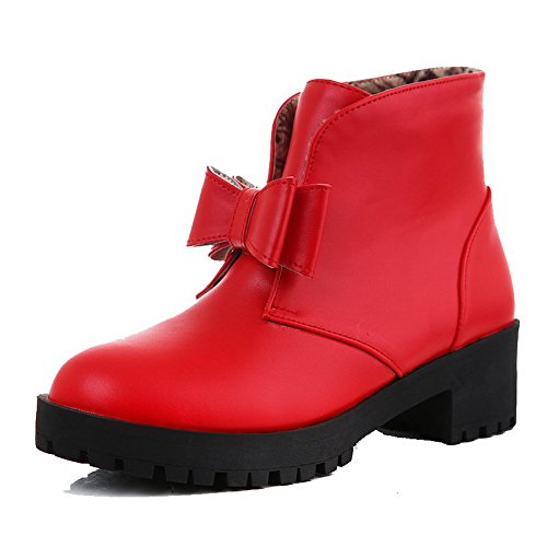 Women's Low-Heels Solid Round Closed Toe Soft Material Pull-On Boots with Bows