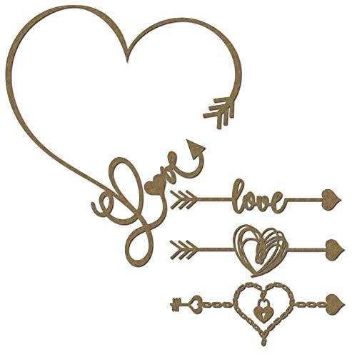 4 Piece Set Love Arrow and Borders Scrapbooking Laser Cut Chipboard