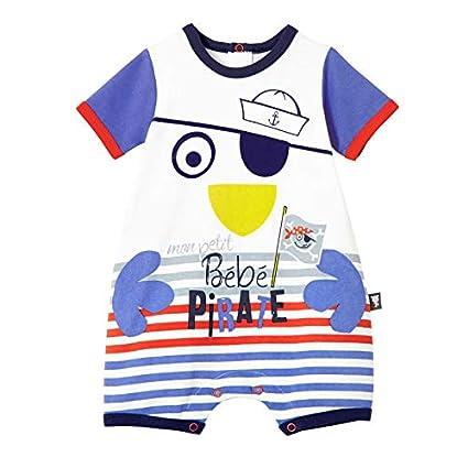acf1644139bb7 Petit Béguin - Barboteuse manches courtes bébé garçon Bébé Pirate -  Couleurs - Blanc, Longueur