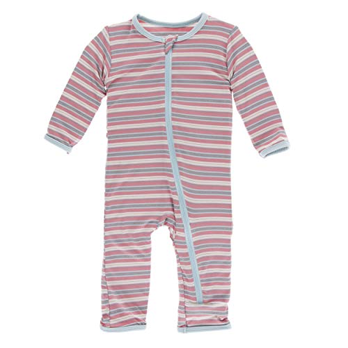 Kickee Pants Little Girls Print Coverall with Zipper - India Dawn Stripe, 12-18 - Stripe Pant Girls