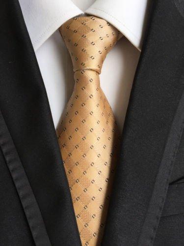 new-classic-geometric-gold-black-jacquard-woven-100-silk-mens-tie-necktie