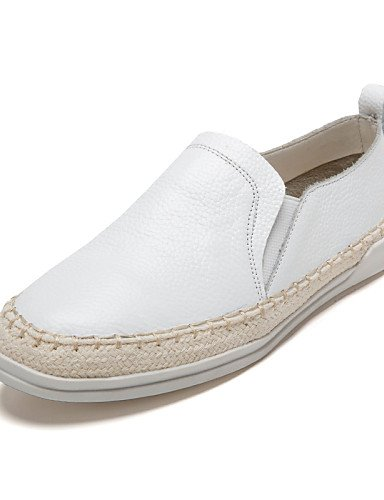 Casual Punta Eu38 Uk5 Cn38 White Cerrada Cn40 Uk6 us8 Negro us7 Blanco Tacón Comfort Zapatos 5 Mocasines Mujer Plano 5 Eu39 Redonda Cuero De 5 Zq 5 White nSCvwqxYp