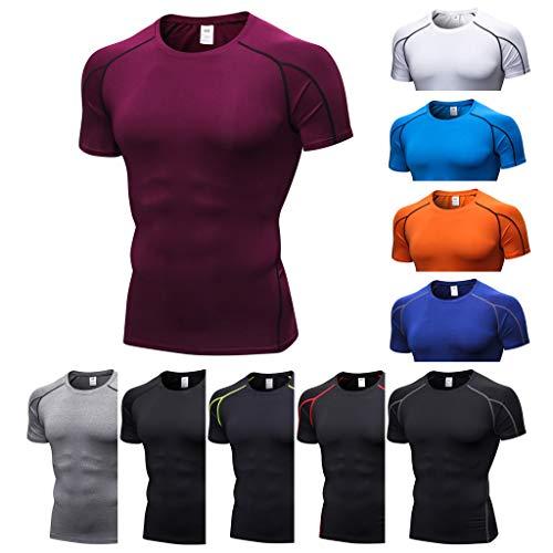 Muscle Manches Fitness O Deelin Tees Orange Tops Athlétique À Rapide cou Séchage Homme Courtes T Serré Gym Sport shirt wfZ1Z8q