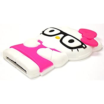 Bukit Cell Hot Pink 3D Hello Kitty with glasses touch 4 Case; 4 items: Silicone Case + BUKIT CELL Trademark Cloth + Screen Protector + METALLIC Stylus Touch Pen