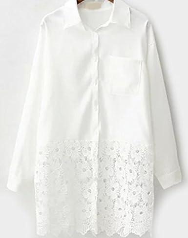 Camisa Blanca Crochet Flores (M): Amazon.es: Ropa y accesorios